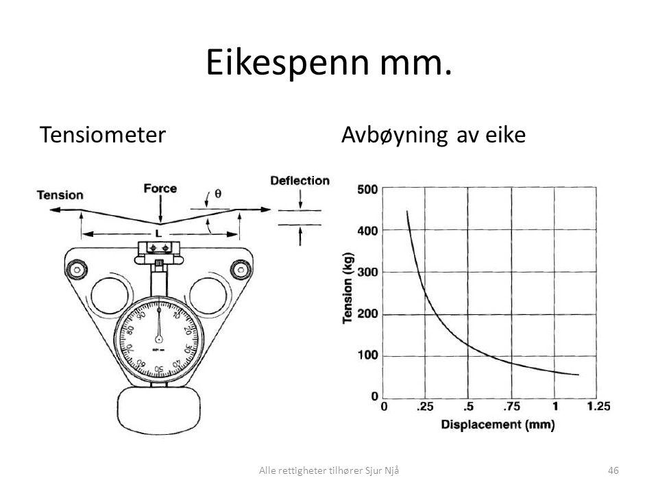 Eikespenn mm. TensiometerAvbøyning av eike Alle rettigheter tilhører Sjur Njå46