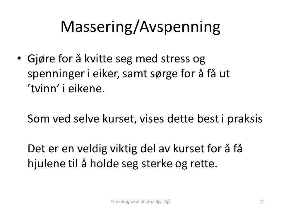 Massering/Avspenning • Gjøre for å kvitte seg med stress og spenninger i eiker, samt sørge for å få ut 'tvinn' i eikene. Som ved selve kurset, vises d