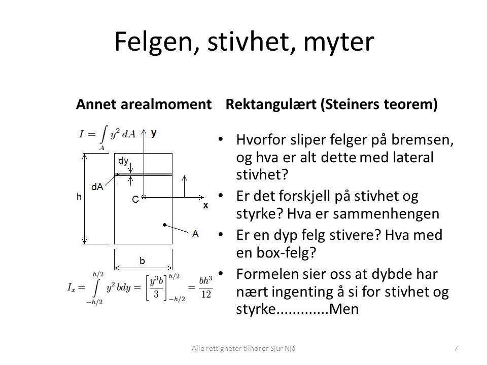 Felgen, stivhet, myter Annet arealmomentRektangulært (Steiners teorem) • Hvorfor sliper felger på bremsen, og hva er alt dette med lateral stivhet? •