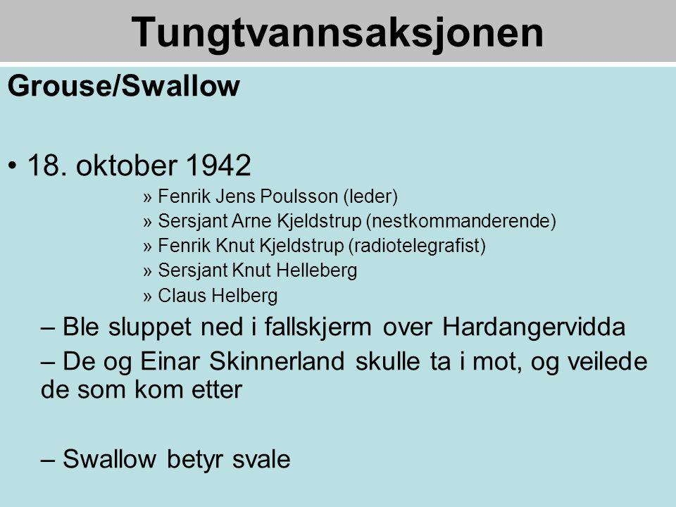 Tungtvannsaksjonen Grouse/Swallow • 18.