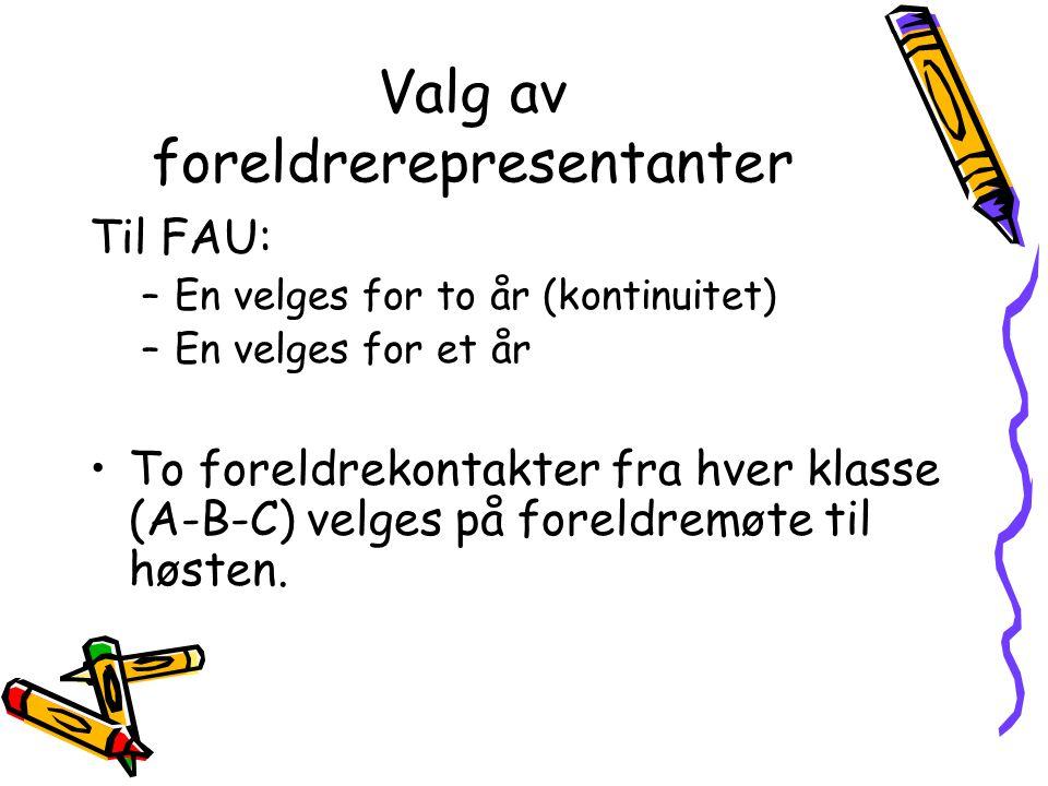 Valg av foreldrerepresentanter Til FAU: –En velges for to år (kontinuitet) –En velges for et år •To foreldrekontakter fra hver klasse (A-B-C) velges på foreldremøte til høsten.