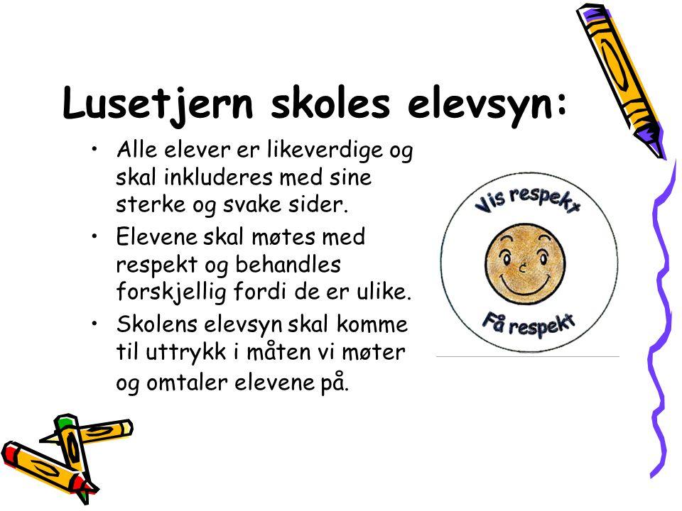 Lusetjern skoles elevsyn: •Alle elever er likeverdige og skal inkluderes med sine sterke og svake sider.