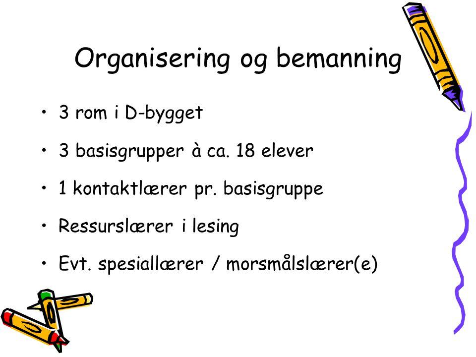 Organisering og bemanning •3 rom i D-bygget •3 basisgrupper à ca.