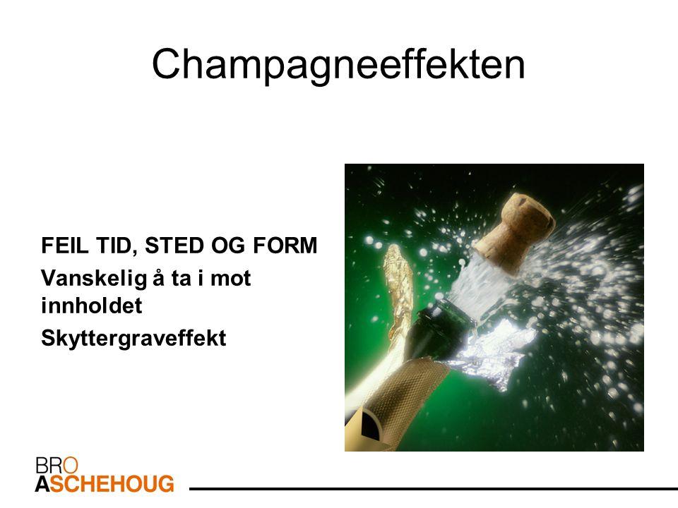 Champagneeffekten FEIL TID, STED OG FORM Vanskelig å ta i mot innholdet Skyttergraveffekt