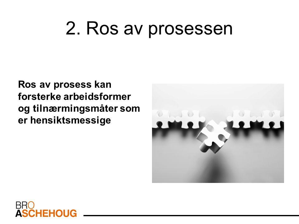 2. Ros av prosessen Ros av prosess kan forsterke arbeidsformer og tilnærmingsmåter som er hensiktsmessige