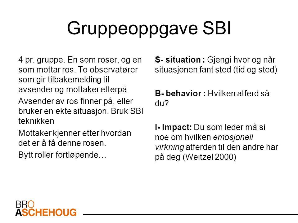 Gruppeoppgave SBI 4 pr. gruppe. En som roser, og en som mottar ros. To observatører som gir tilbakemelding til avsender og mottaker etterpå. Avsender