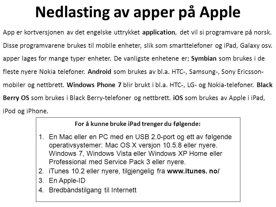 Nedlasting av apper på Apple App er kortversjonen av det engelske uttrykket application, det vil si programvare på norsk. Disse programvarene brukes t