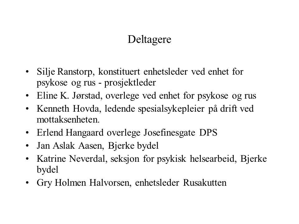 Deltagere •Silje Ranstorp, konstituert enhetsleder ved enhet for psykose og rus - prosjektleder •Eline K. Jørstad, overlege ved enhet for psykose og r