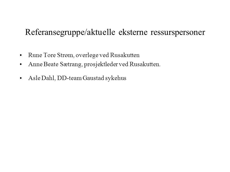 Referansegruppe/aktuelle eksterne ressurspersoner •Rune Tore Strøm, overlege ved Rusakutten •Anne Beate Sætrang, prosjektleder ved Rusakutten. •Asle D
