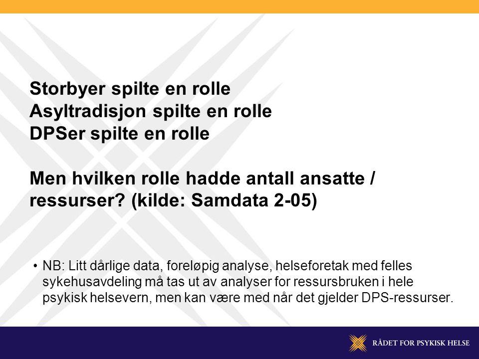 Storbyer spilte en rolle Asyltradisjon spilte en rolle DPSer spilte en rolle Men hvilken rolle hadde antall ansatte / ressurser.