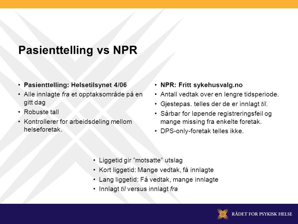 Pasienttelling vs NPR •Pasienttelling: Helsetilsynet 4/06 •Alle innlagte fra et opptaksområde på en gitt dag •Robuste tall •Kontrollerer for arbeidsdeling mellom helseforetak.