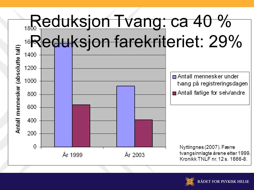 Reduksjon Tvang: ca 40 % Reduksjon farekriteriet: 29% Nyttingnes (2007).