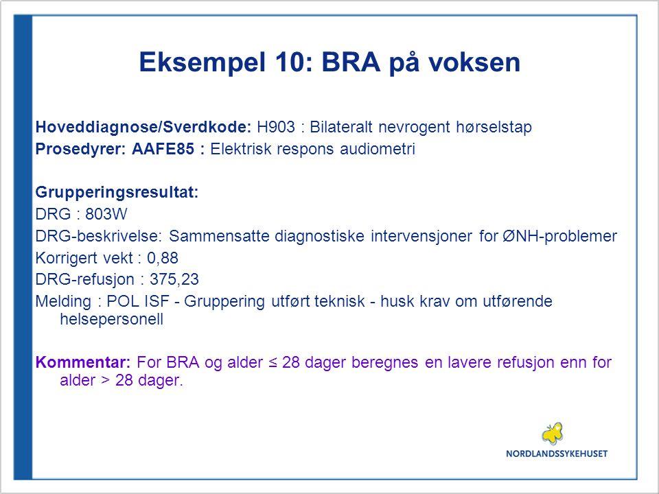 Eksempel 10: BRA på voksen Hoveddiagnose/Sverdkode: H903 : Bilateralt nevrogent hørselstap Prosedyrer: AAFE85 : Elektrisk respons audiometri Grupperin