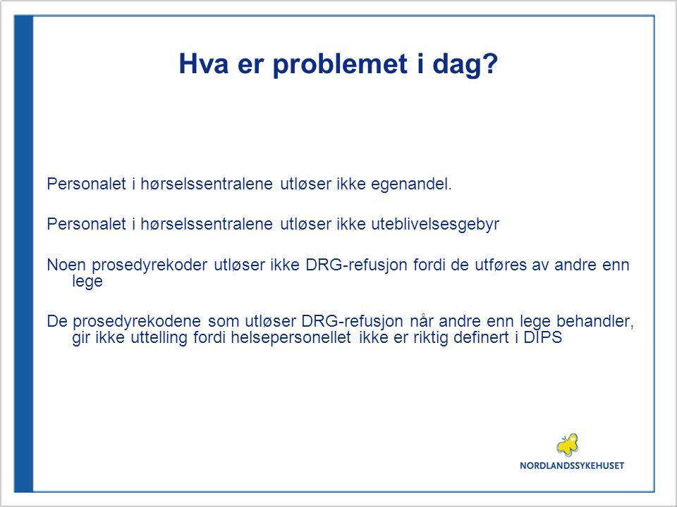 Eksempel 4: Utredning Hoveddiagnose/Sverdkode: H905 : Uspesifisert nevrogent hørselstap Prosedyrer: 1.