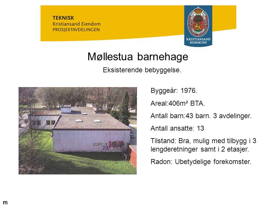 Møllestua barnehage Eksisterende bebyggelse. Byggeår: 1976. Areal:406m² BTA. Antall barn:43 barn. 3 avdelinger. Antall ansatte: 13 Tilstand: Bra, muli