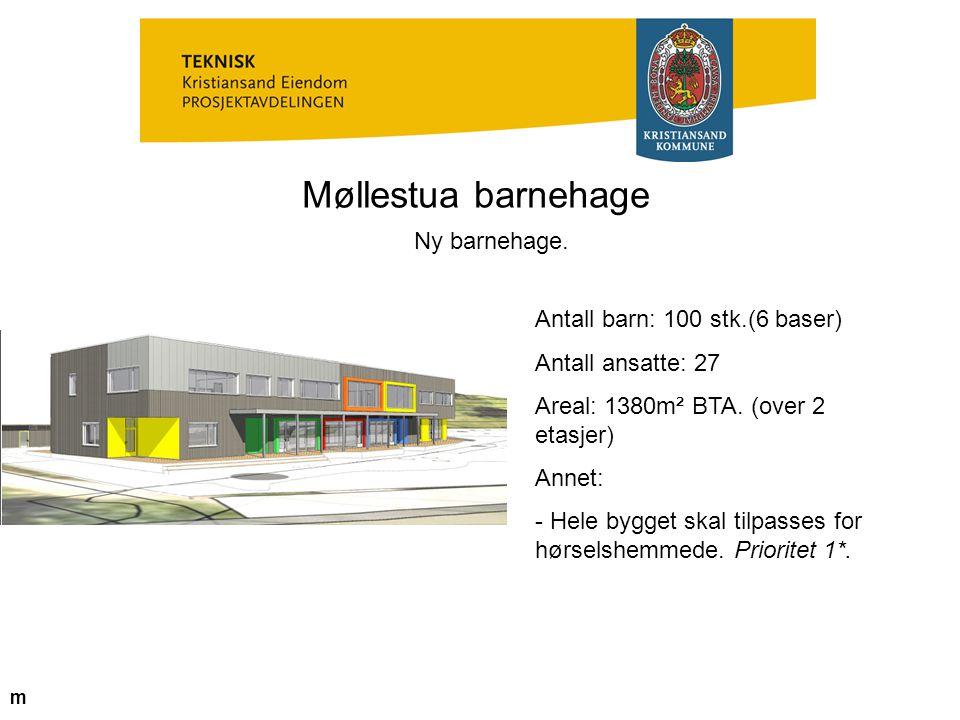 Møllestua barnehage Ny barnehage. Antall barn: 100 stk.(6 baser) Antall ansatte: 27 Areal: 1380m² BTA. (over 2 etasjer) Annet: - Hele bygget skal tilp