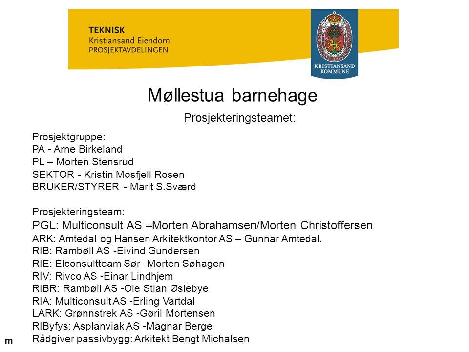 Møllestua barnehage Prosjekteringsteamet: Prosjektgruppe: PA - Arne Birkeland PL – Morten Stensrud SEKTOR - Kristin Mosfjell Rosen BRUKER/STYRER - Mar