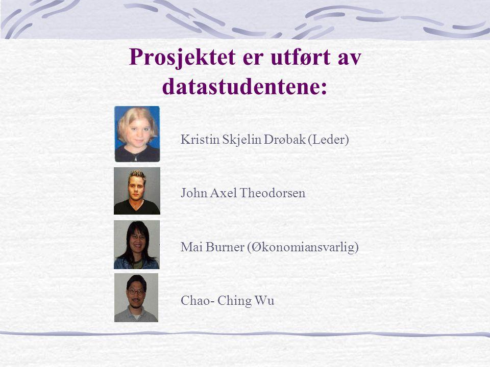Prosjektet er utført av datastudentene: Kristin Skjelin Drøbak (Leder) John Axel Theodorsen Mai Burner (Økonomiansvarlig) Chao- Ching Wu