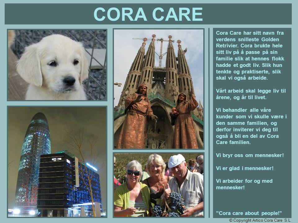 CORA CARE Cora Care har sitt navn fra verdens snilleste Golden Retrivier. Cora brukte hele sitt liv på å passe på sin familie slik at hennes flokk had