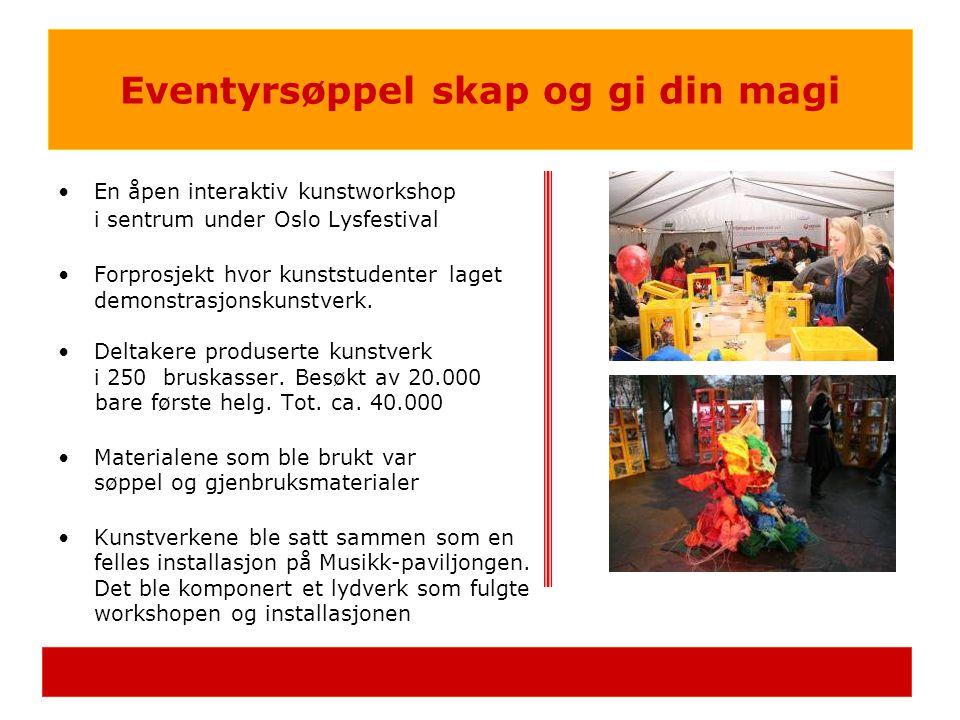 •En åpen interaktiv kunstworkshop i sentrum under Oslo Lysfestival •Forprosjekt hvor kunststudenter laget demonstrasjonskunstverk. •Deltakere produser