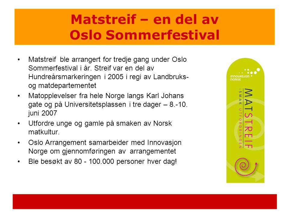•Matstreif ble arrangert for tredje gang under Oslo Sommerfestival i år. Streif var en del av Hundreårsmarkeringen i 2005 i regi av Landbruks- og matd