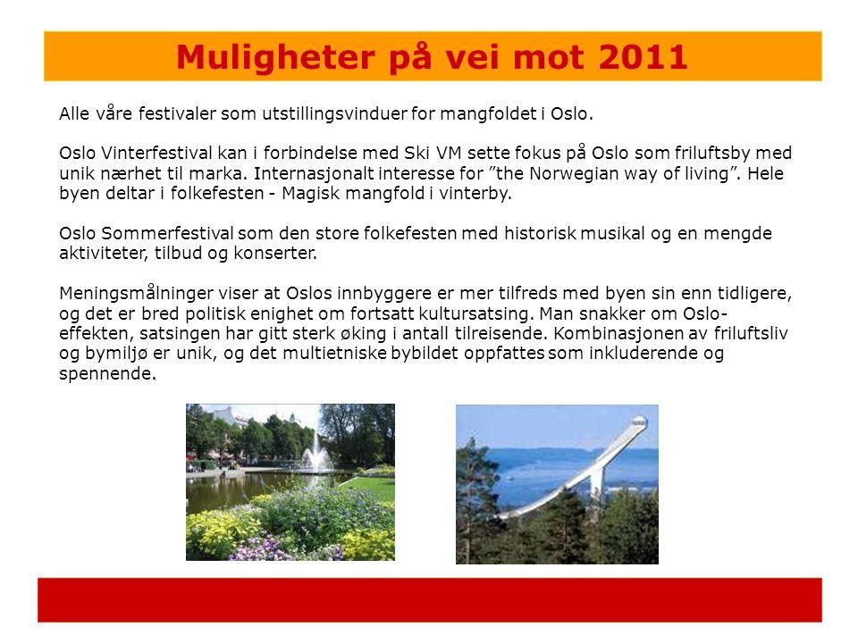 Muligheter på vei mot 2011 Alle våre festivaler som utstillingsvinduer for mangfoldet i Oslo. Oslo Vinterfestival kan i forbindelse med Ski VM sette f