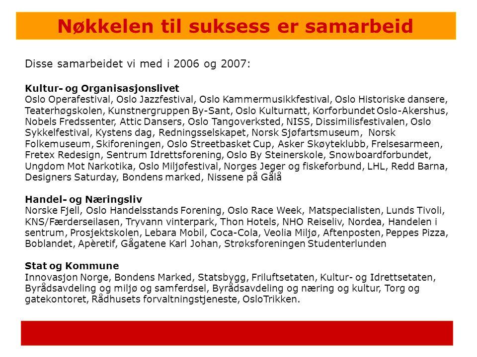 Nøkkelen til suksess er samarbeid Disse samarbeidet vi med i 2006 og 2007: Kultur- og Organisasjonslivet Oslo Operafestival, Oslo Jazzfestival, Oslo K