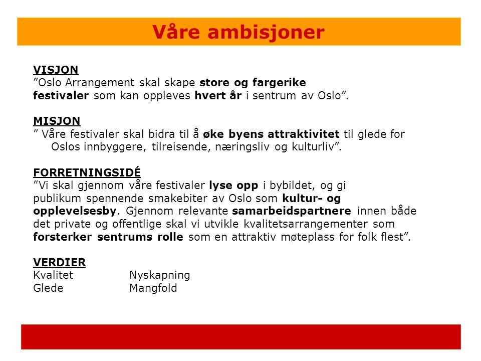 """Våre ambisjoner VISJON """"Oslo Arrangement skal skape store og fargerike festivaler som kan oppleves hvert år i sentrum av Oslo"""". MISJON """" Våre festival"""