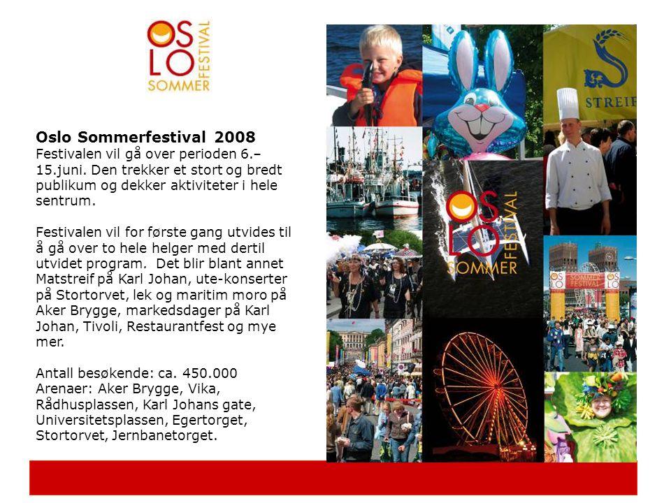 Oslo Sommerfestival 2008 Festivalen vil gå over perioden 6.– 15.juni. Den trekker et stort og bredt publikum og dekker aktiviteter i hele sentrum. Fes