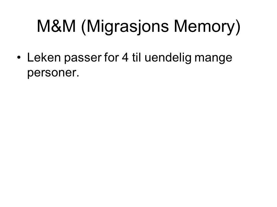 M&M (Migrasjons Memory) •Leken passer for 4 til uendelig mange personer.