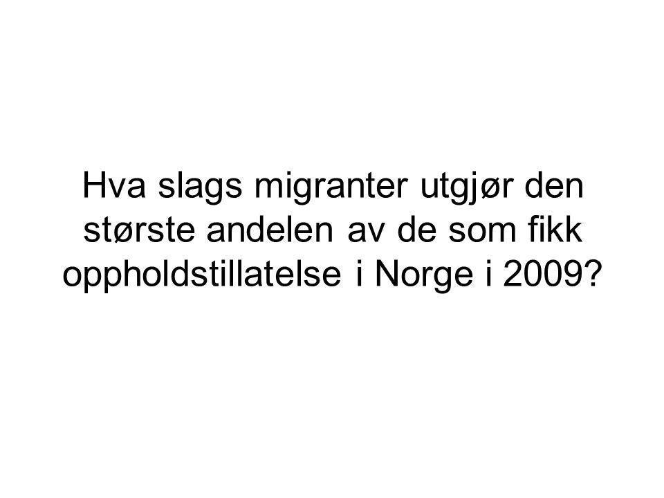 Hva slags migranter utgjør den største andelen av de som fikk oppholdstillatelse i Norge i 2009?