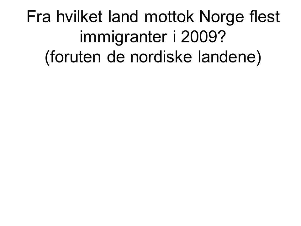 Fra hvilket land mottok Norge flest immigranter i 2009? (foruten de nordiske landene)