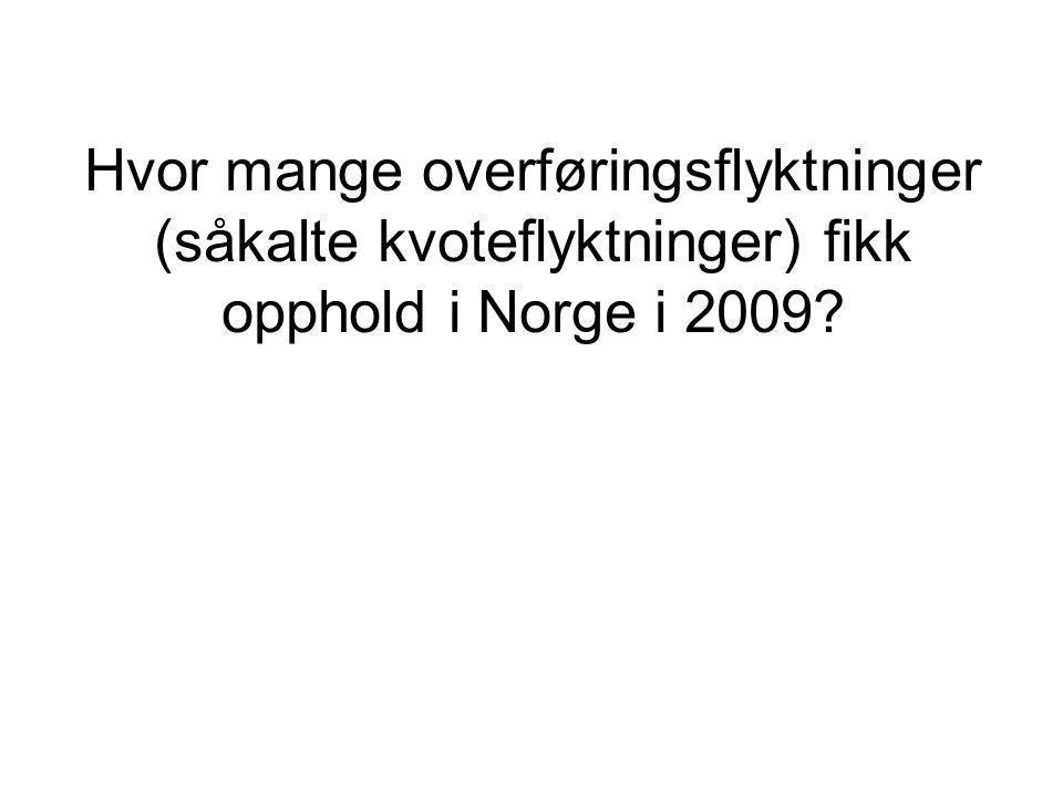 Hvor mange overføringsflyktninger (såkalte kvoteflyktninger) fikk opphold i Norge i 2009?