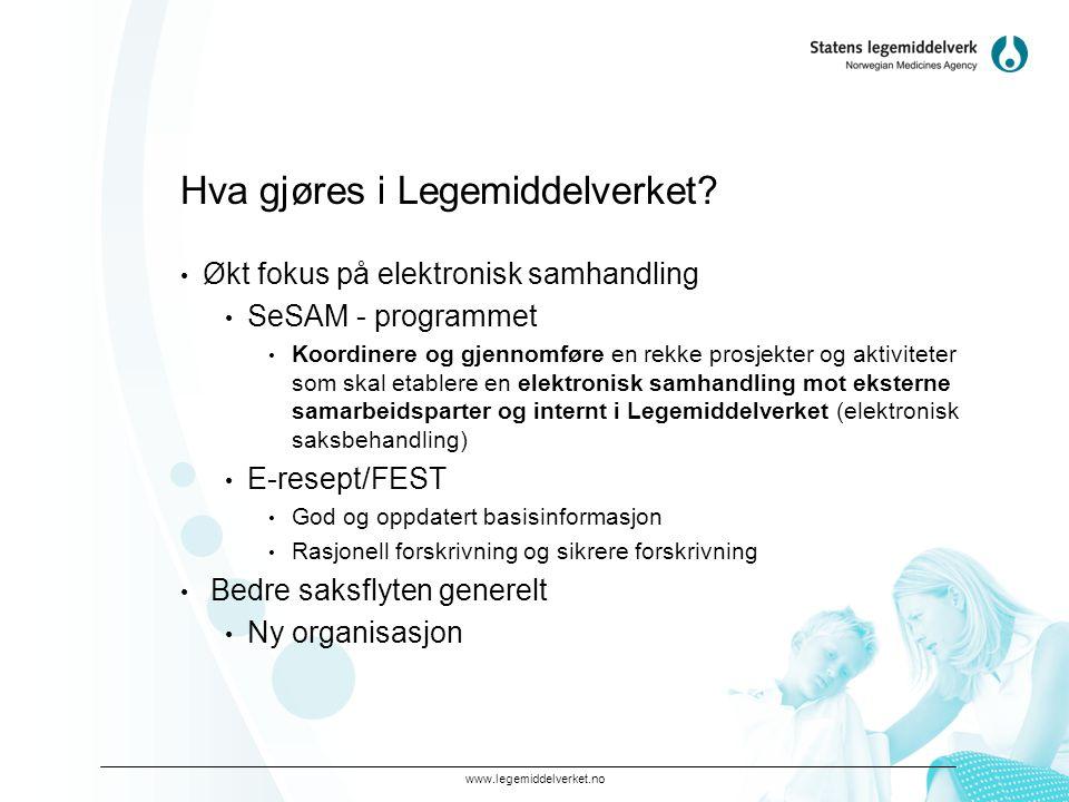 www.legemiddelverket.no Hva gjøres i Legemiddelverket? • Økt fokus på elektronisk samhandling • SeSAM - programmet • Koordinere og gjennomføre en rekk