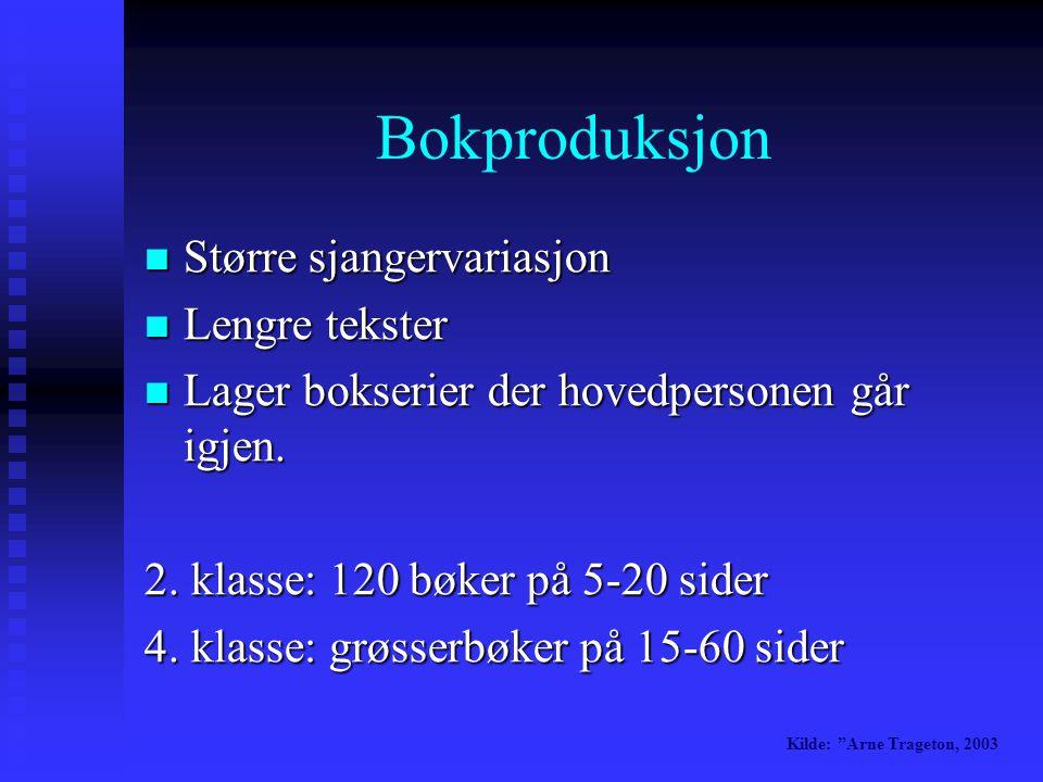 Bokproduksjon  Større sjangervariasjon  Lengre tekster  Lager bokserier der hovedpersonen går igjen.
