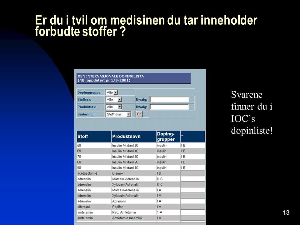 Sportsys AS13 Er du i tvil om medisinen du tar inneholder forbudte stoffer ? Svarene finner du i IOC`s dopinliste!