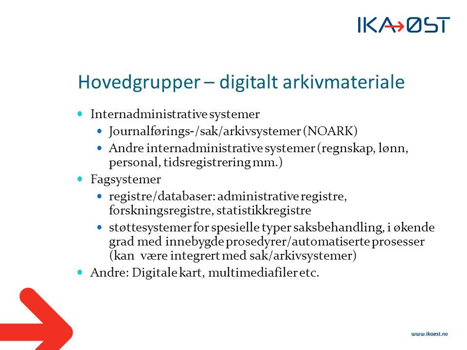 Hovedgrupper – digitalt arkivmateriale  Internadministrative systemer  Journalførings-/sak/arkivsystemer (NOARK)  Andre internadministrative system