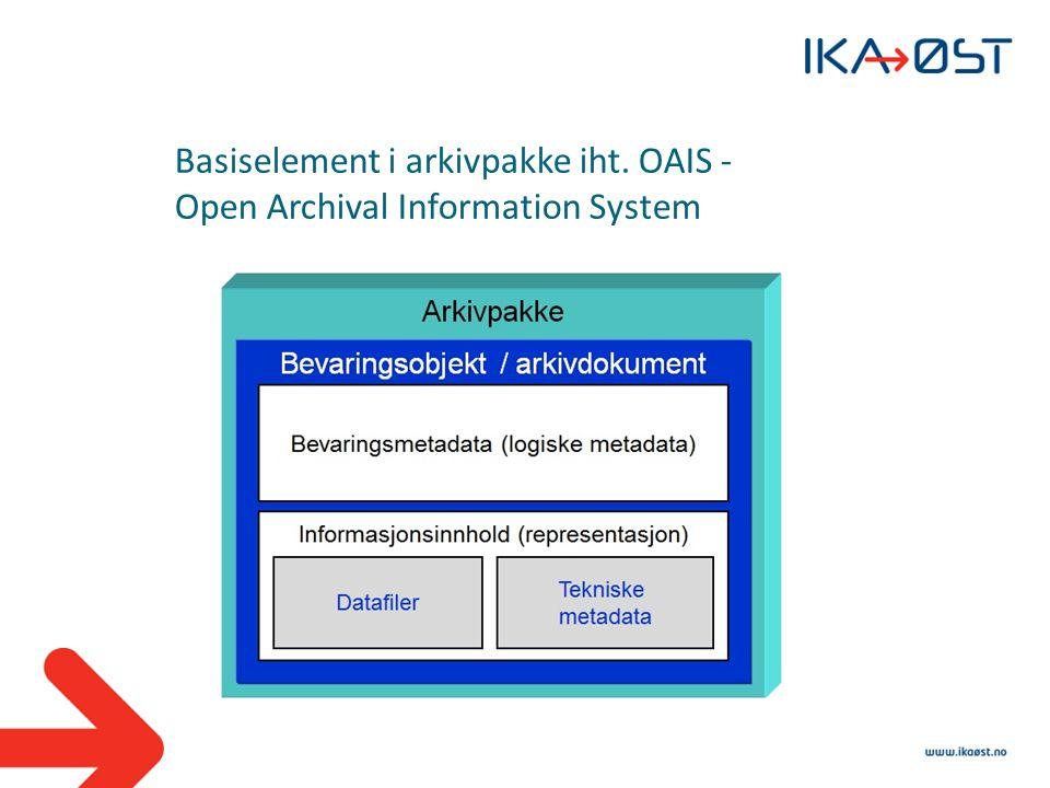 Basiselement i arkivpakke iht. OAIS - Open Archival Information System