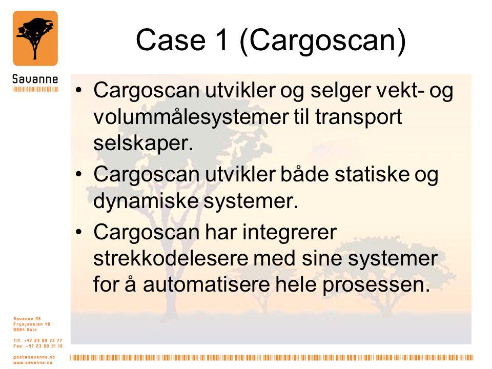 Case 1 (Cargoscan) •Cargoscan utvikler og selger vekt- og volummålesystemer til transport selskaper. •Cargoscan utvikler både statiske og dynamiske sy