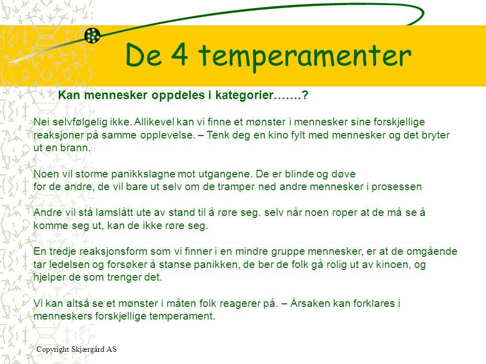 De 4 temperamenter Kan mennesker oppdeles i kategorier…….? Nei selvfølgelig ikke. Allikevel kan vi finne et mønster i mennesker sine forskjellige reak