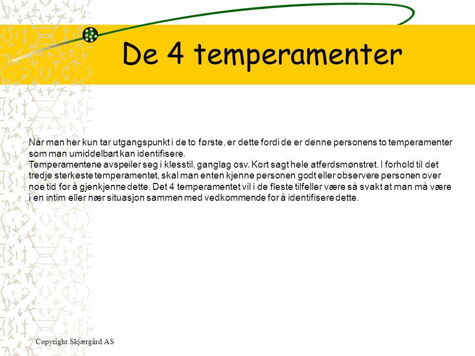 De 4 temperamenter Når man her kun tar utgangspunkt i de to første, er dette fordi de er denne personens to temperamenter som man umiddelbart kan iden