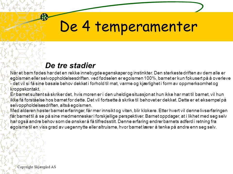 De 4 temperamenter De tre stadier Når et barn fødes har det en rekke innebygde egenskaper og instinkter. Den sterkeste driften av dem alle er egoismen
