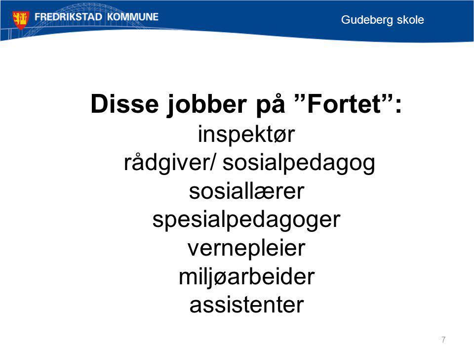 """7 Gudeberg skole Disse jobber på """"Fortet"""": inspektør rådgiver/ sosialpedagog sosiallærer spesialpedagoger vernepleier miljøarbeider assistenter"""