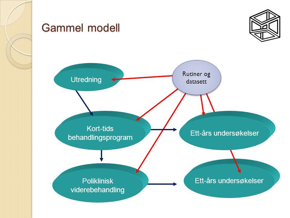 Ett-års undersøkelser Gammel modell Poliklinisk viderebehandling Ett-års undersøkelser Kort-tids behandlingsprogram Utredning Rutiner og datasett Ruti