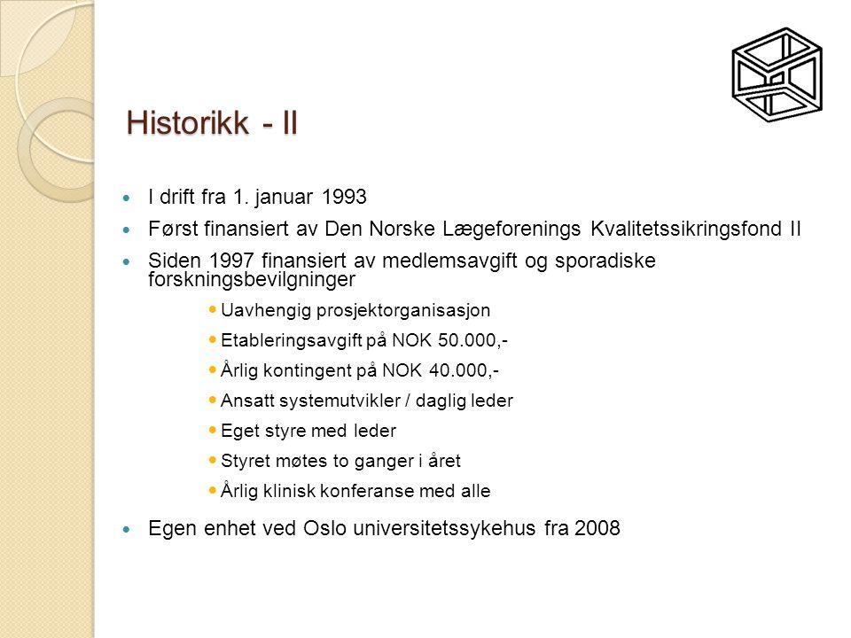 Historikk - II  I drift fra 1. januar 1993  Først finansiert av Den Norske Lægeforenings Kvalitetssikringsfond II  Siden 1997 finansiert av medlems