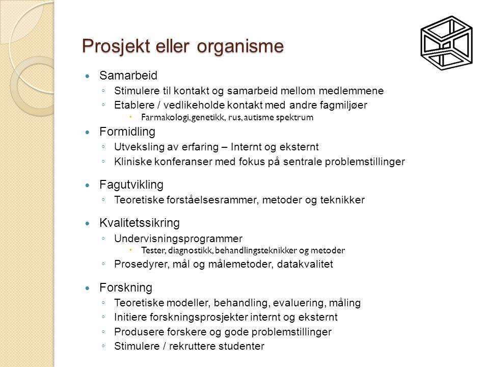 Prosjekt eller organisme  Samarbeid ◦ Stimulere til kontakt og samarbeid mellom medlemmene ◦ Etablere / vedlikeholde kontakt med andre fagmiljøer  F