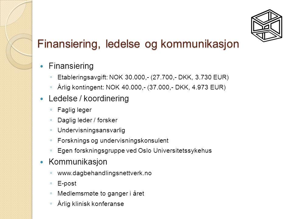 Finansiering, ledelse og kommunikasjon  Finansiering ◦ Etableringsavgift: NOK 30.000,- (27.700,- DKK, 3.730 EUR) ◦ Årlig kontingent: NOK 40.000,- (37.000,- DKK, 4.973 EUR)  Ledelse / koordinering ◦ Faglig leger ◦ Daglig leder / forsker ◦ Undervisningsansvarlig ◦ Forsknings og undervisningskonsulent ◦ Egen forskningsgruppe ved Oslo Universitetssykehus  Kommunikasjon ◦ www.dagbehandlingsnettverk.no ◦ E-post ◦ Medlemsmøte to ganger i året ◦ Årlig klinisk konferanse