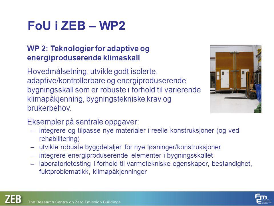 FoU i ZEB – WP2 WP 2: Teknologier for adaptive og energiproduserende klimaskall Hovedmålsetning: utvikle godt isolerte, adaptive/kontrollerbare og ene