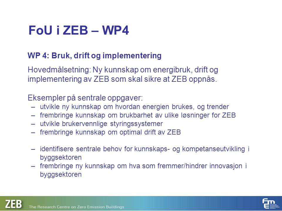 FoU i ZEB – WP4 WP 4: Bruk, drift og implementering Hovedmålsetning: Ny kunnskap om energibruk, drift og implementering av ZEB som skal sikre at ZEB o