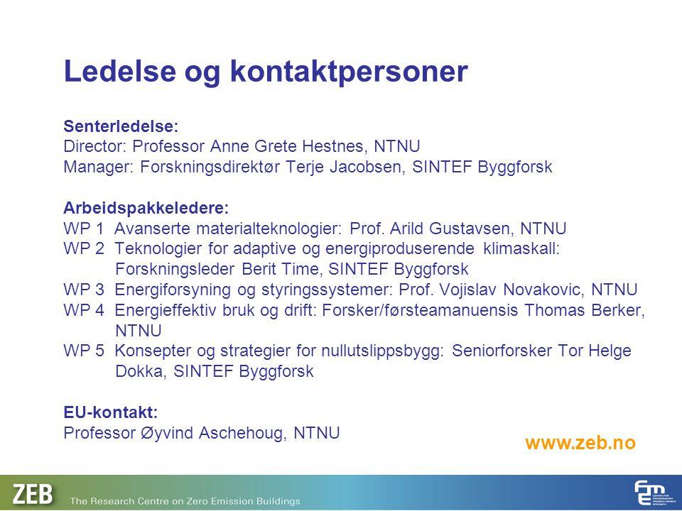 Ledelse og kontaktpersoner Senterledelse: Director: Professor Anne Grete Hestnes, NTNU Manager: Forskningsdirektør Terje Jacobsen, SINTEF Byggforsk Ar